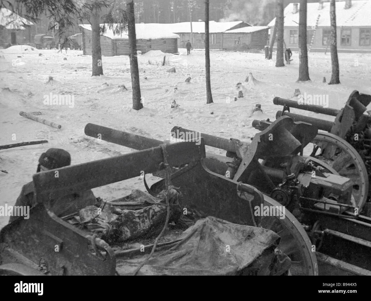 Soviet weaponry in Solnechnogorsk liberated from Nazi occupation during WWII - Stock Image