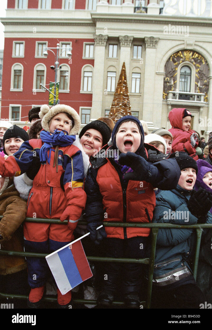 Children and their parents gathered in Tverskaya square to meet the Russian Father Frost Stock Photo