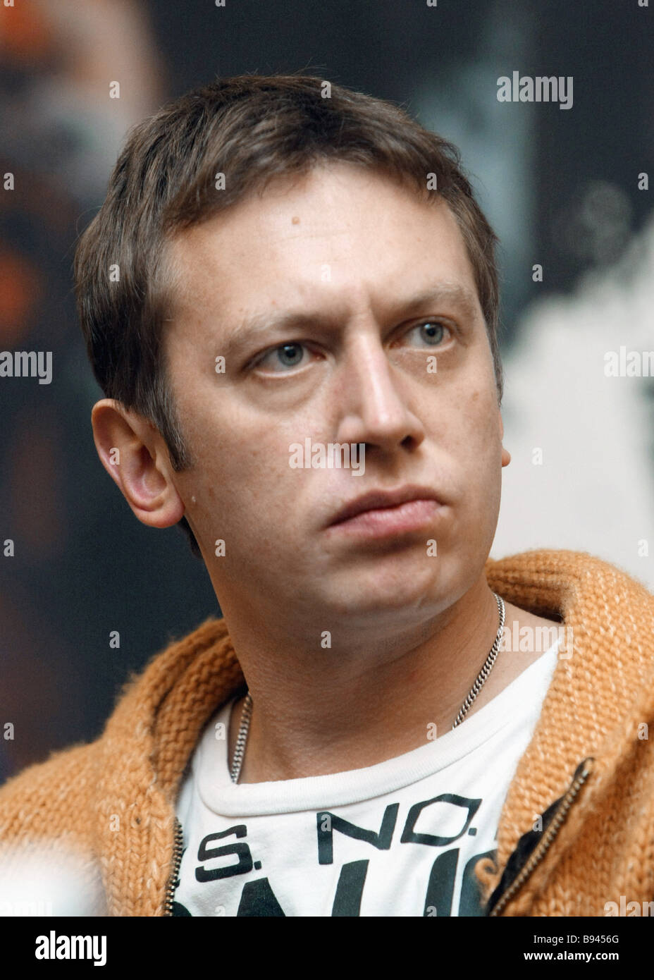 Actor Mikhail Trukhin during presentation of film project D Day - Stock Image