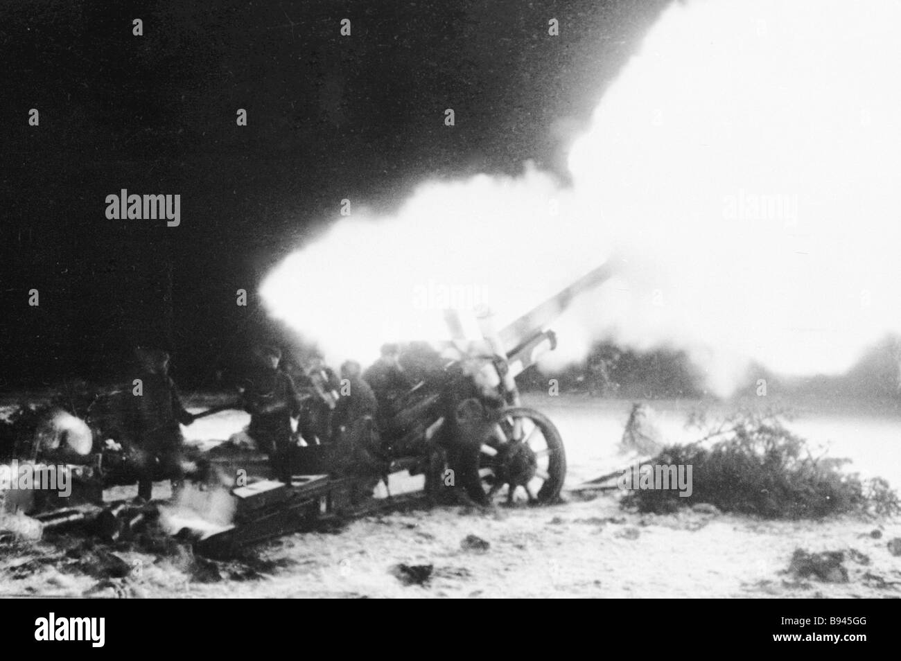 Artillery fire against the enemy - Stock Image