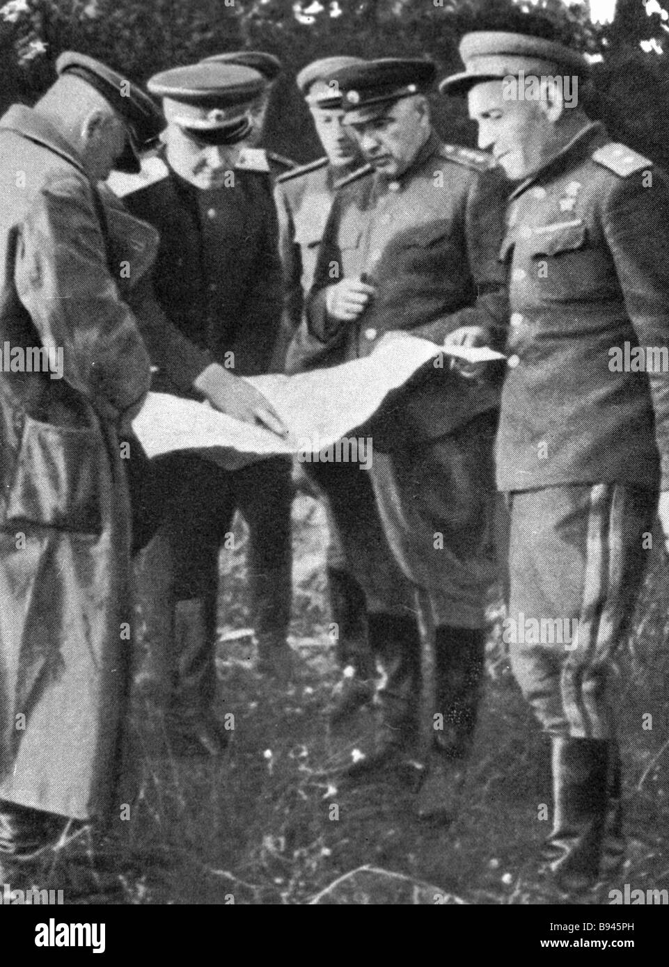 Marshal of the Soviet Union Ivan Konev center with generals First Ukrainian Front - Stock Image