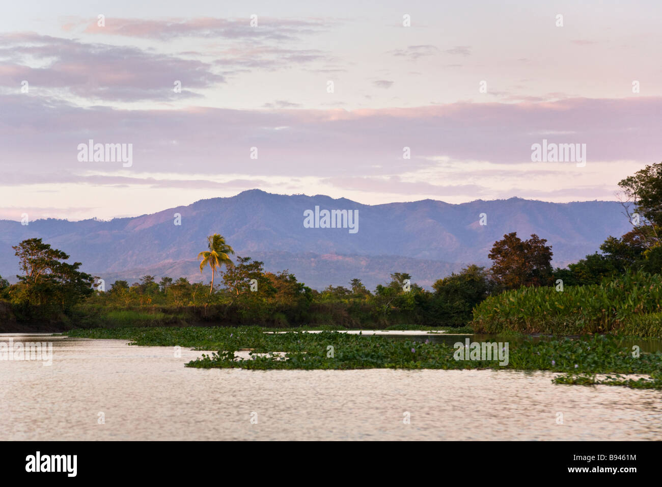 Sunset along the Sierpe River, gateway to Corcovado National Park, Costa Rica. - Stock Image