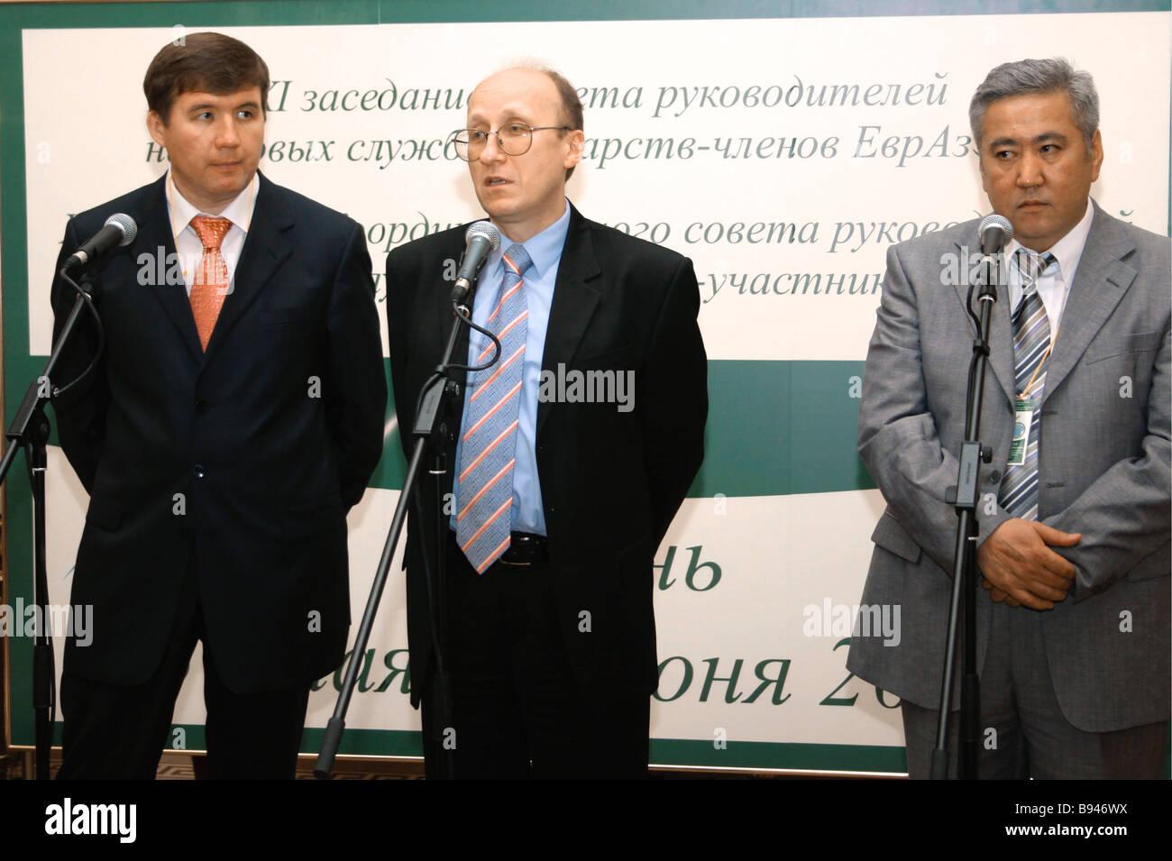 Head of the Russian Federal Taxation Service Mikhail Mokretsov center - Stock Image