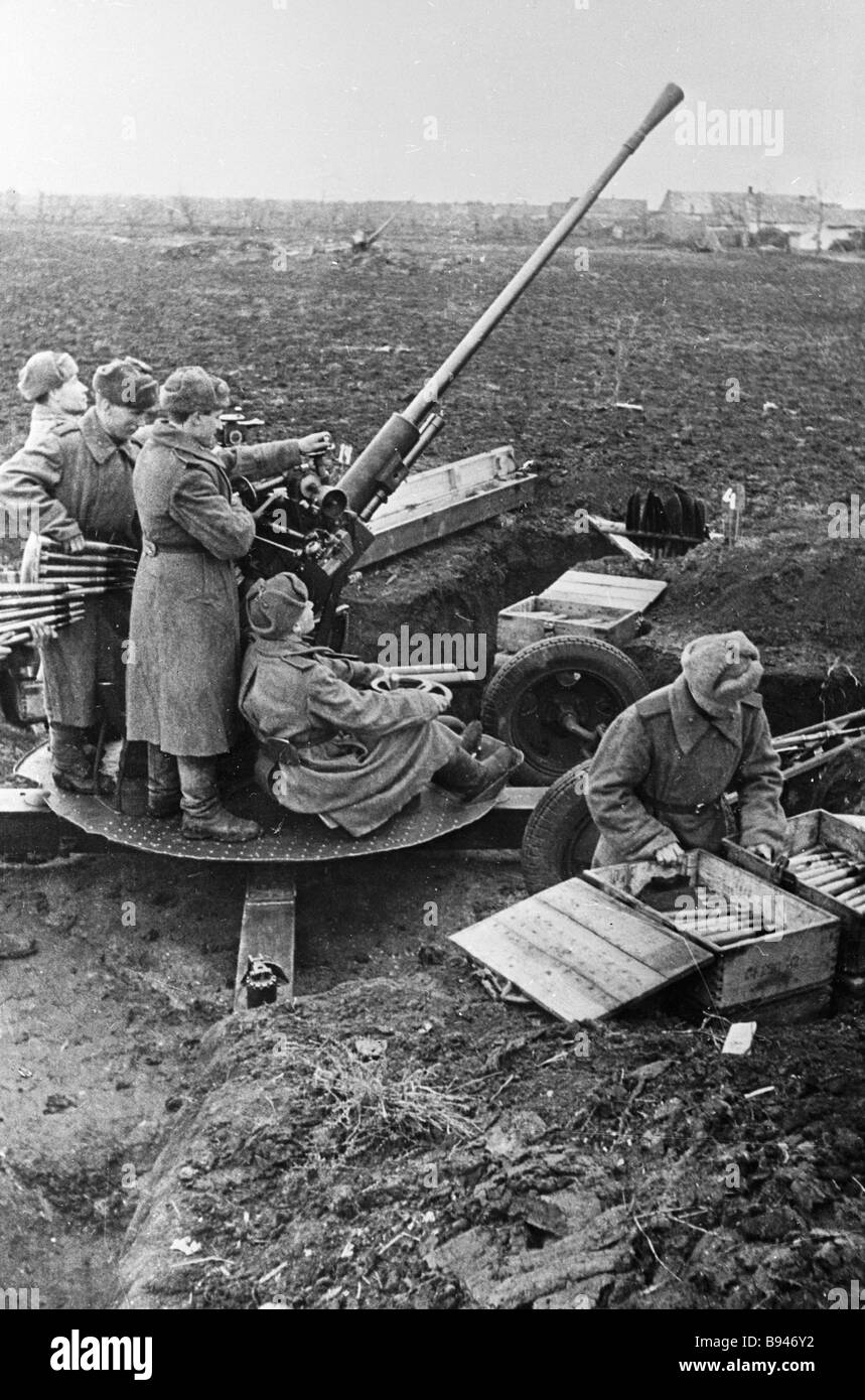 Soviet anti aircraft gunners during the Great Patriotic War - Stock Image