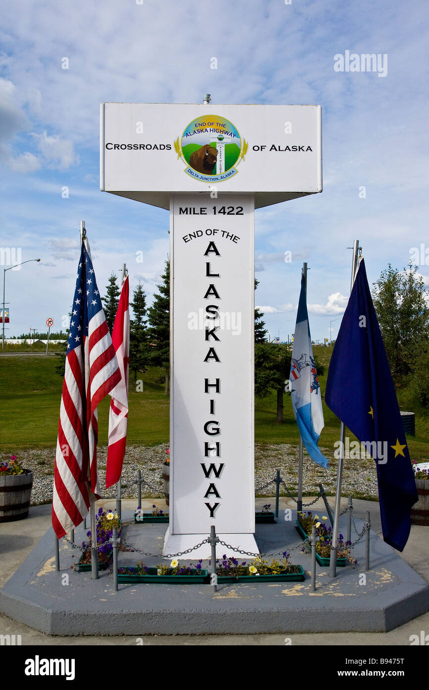 Alaska Highway mileage sign in Delta Junction Alaska. - Stock Image