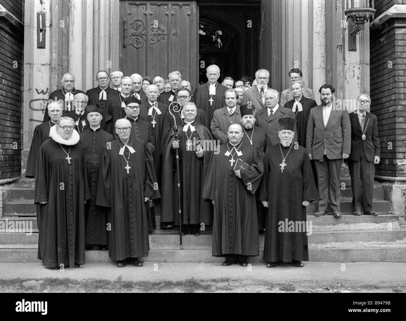Clergymen after a service in the Church of St Paul on VE Day - Stock Image