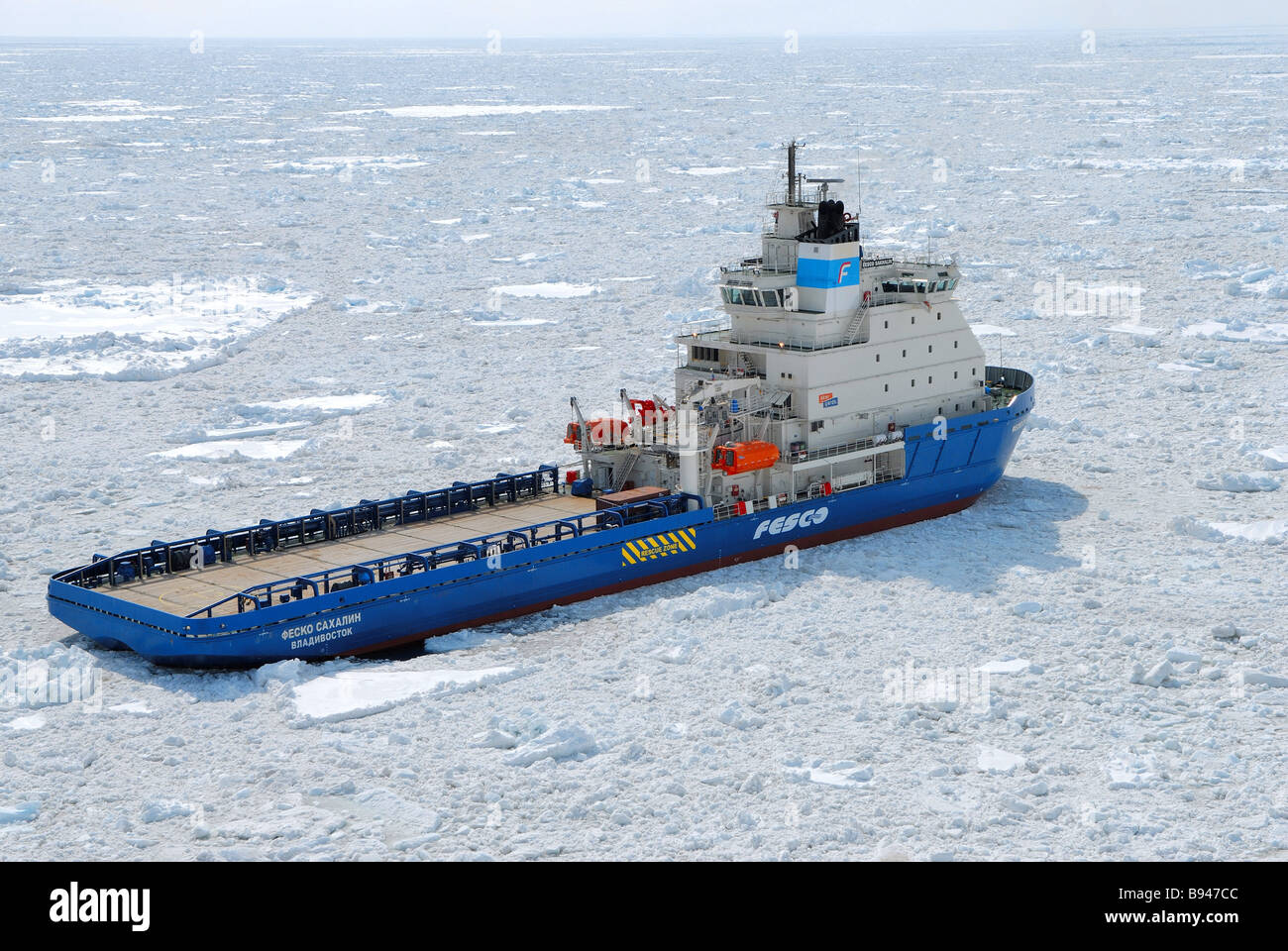 The new unique ice breaker Fesco Sakhalin built at Finland s Aker Yards formerly called Kvaemer Masa Yards has entered - Stock Image