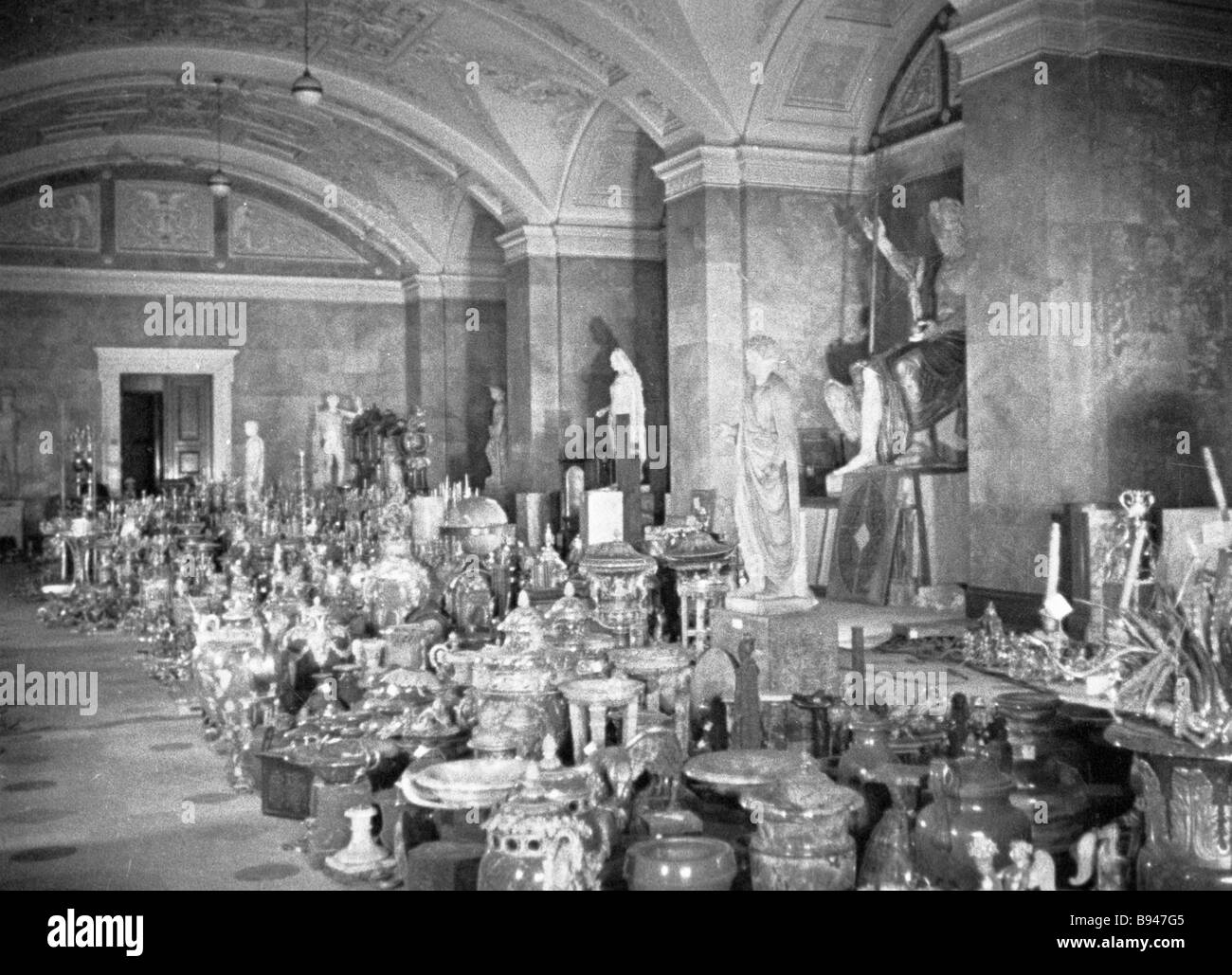 Applied art showpieces were kept in the Hermitage depositories during the siege - Stock Image