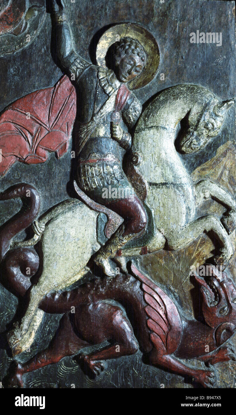 The carved wood icon St George the Victorious 17th century from the Tretyakov State Gallery collection - Stock Image
