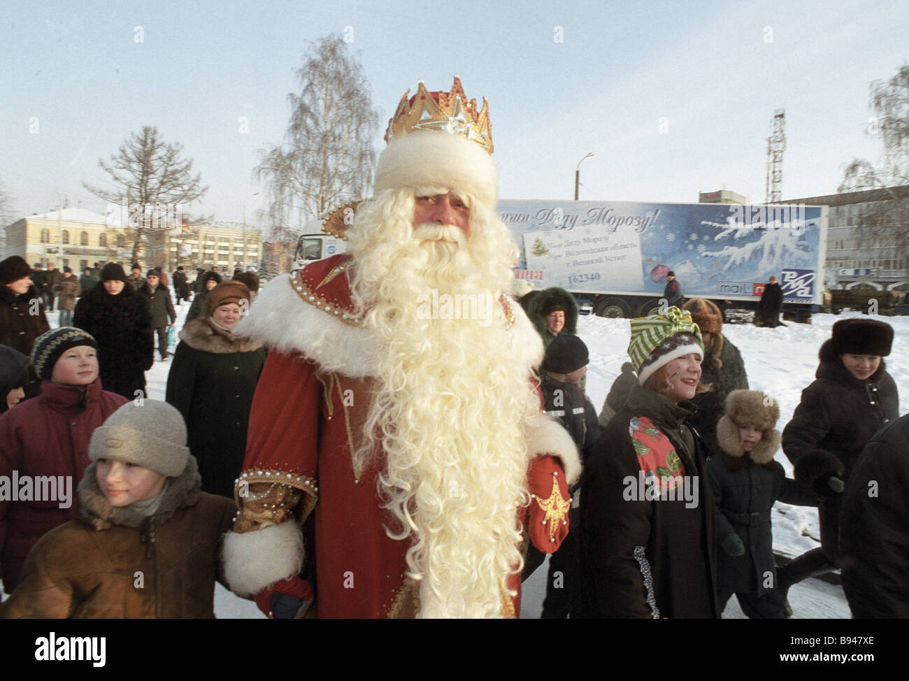 Young Kostroma inhabitants meet the Father Frost during the Father Frost Russian tour - Stock Image