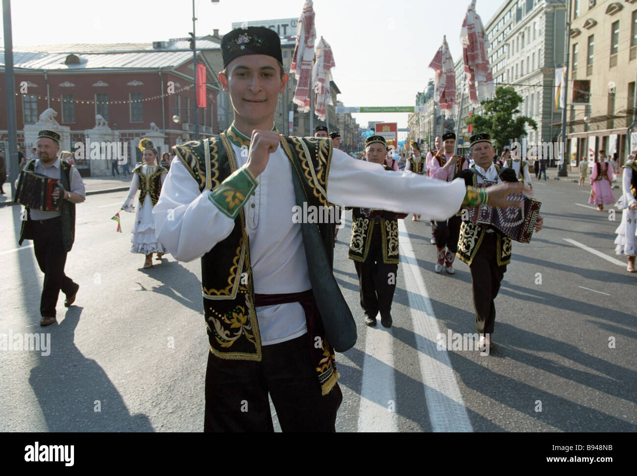 Delegation of the Republic of Tatarstan at the Parade of peoples and lands of Russia - Stock Image