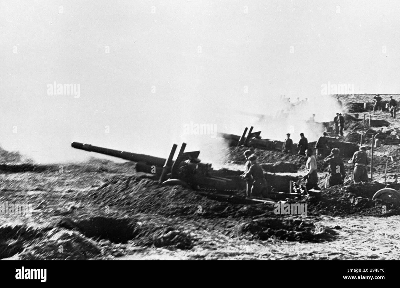 Soviet artillery in Danzig in the WWII times - Stock Image