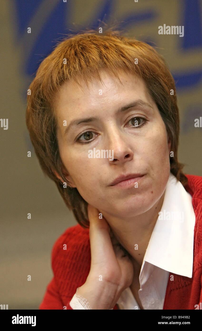 Microsoft President in Russia and the CIS Olga Dergunova during online conference in RIA Novosti - Stock Image