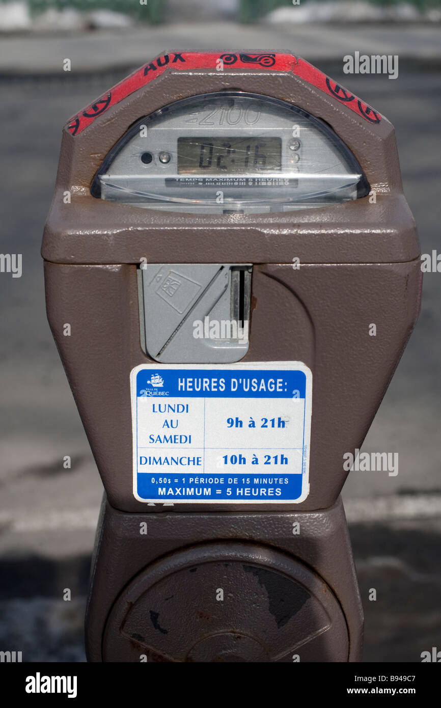 A Quebec city parking meter is seen on Avenue Cartier - Stock Image