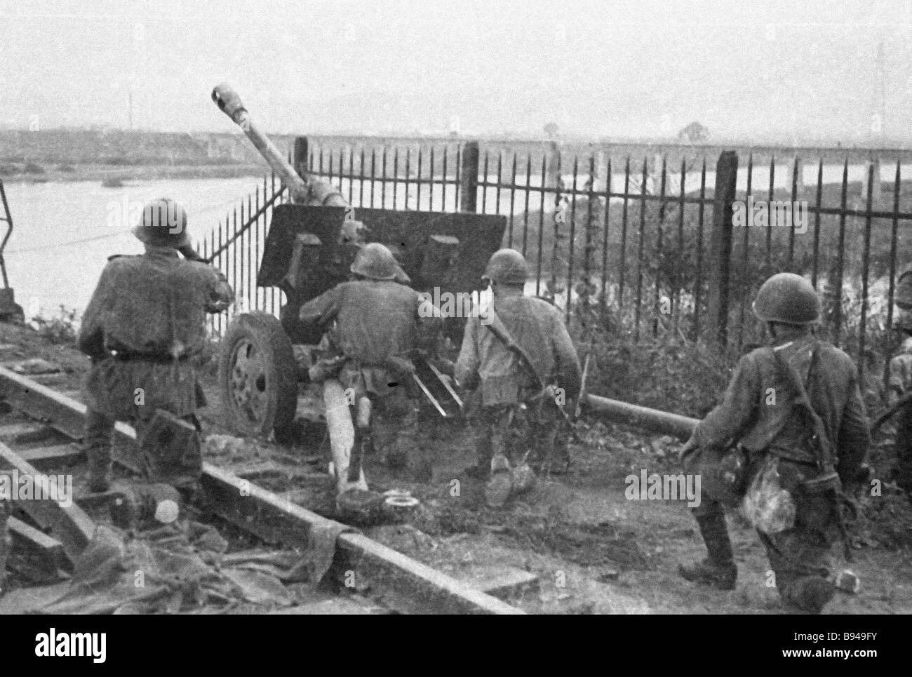 Artillery section of the 1st Far Eastern front fighting for Mudanjiang city - Stock Image