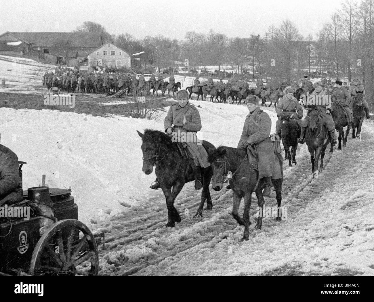 Troopers of the Third Guards Cavalry Corps approaching the city of Allenstein in East Prussia - Stock Image