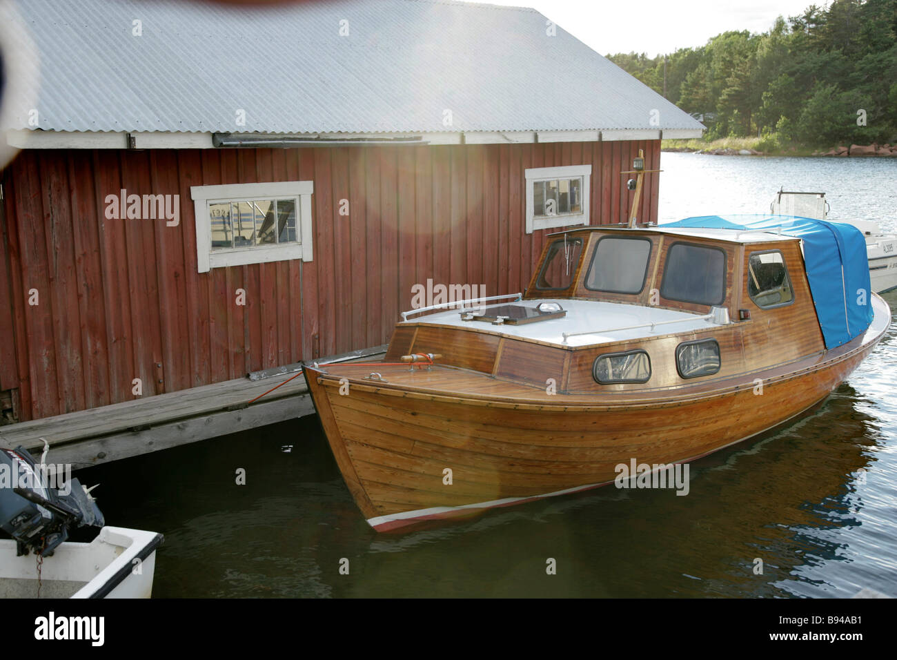 Boatsheds in Aland Stock Photo