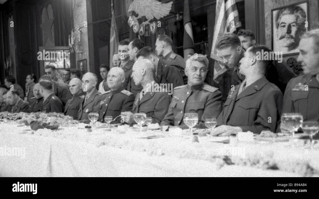 Marshal Ivan Konev fifth right commander in chief of the First Ukrainian front and his top officers meeting with - Stock Image