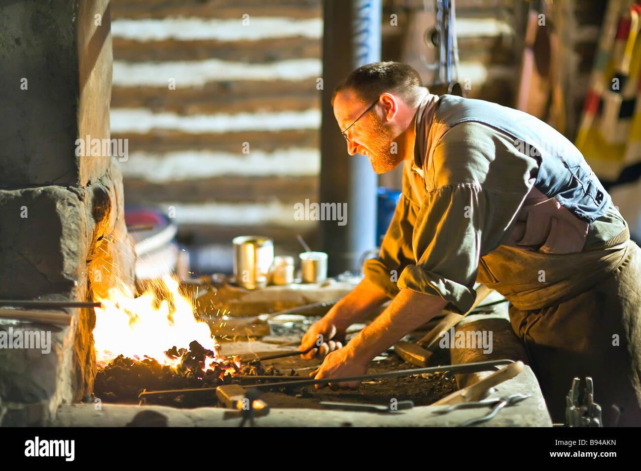 Blacksmith at the Festival du Voyageur, Winnipeg, Manitoba, Canada - Stock Image