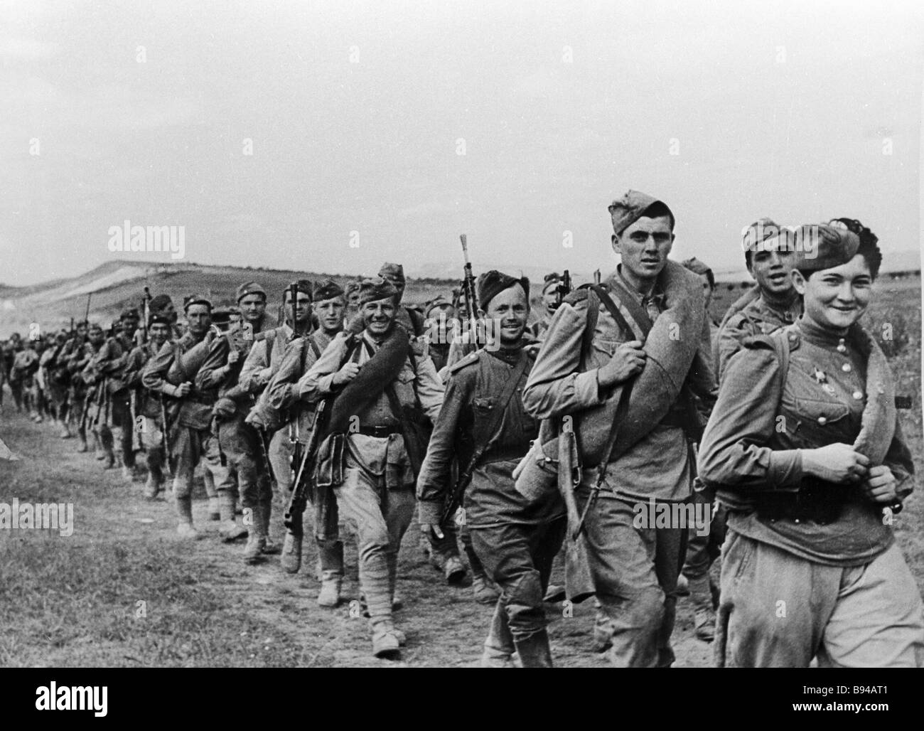 Red Army soldiers on the march the second world war - Stock Image