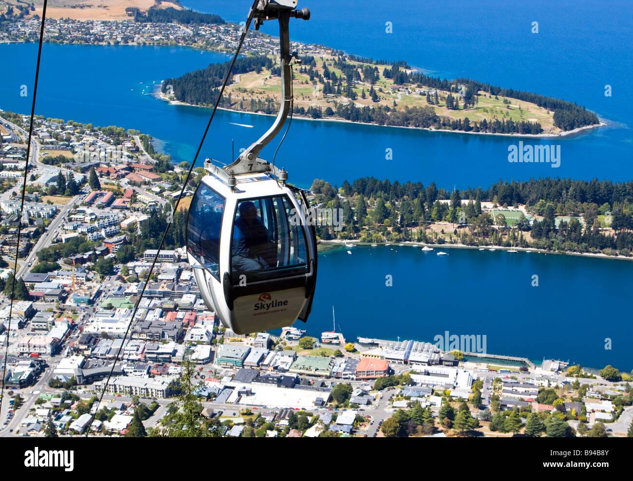 Skyline Gondola Lake Wakatipu Queenstown New Zealand Stock Photo