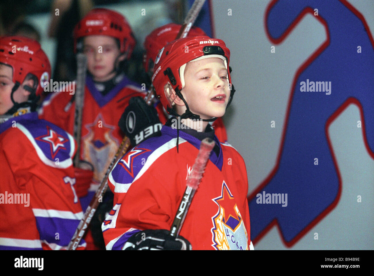Junior hockey players at the Army Central Sport Club - Stock Image