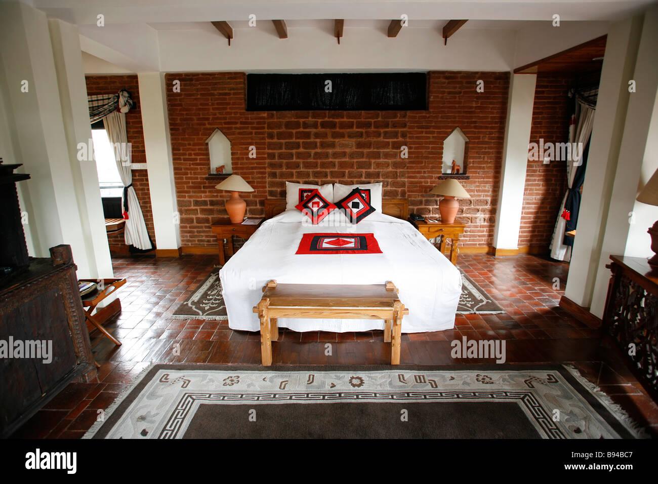 Double Bed In Beautiful Hotel In Kathmandu In Nepal Stock Photo Alamy