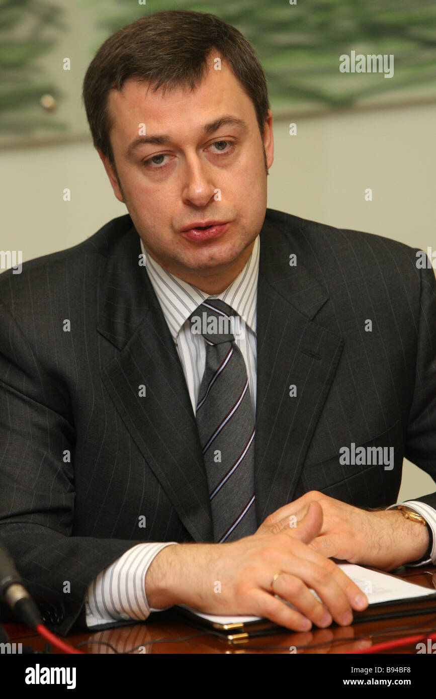 General Director of the Goznak Association Arkady Travchuk at the news conference - Stock Image