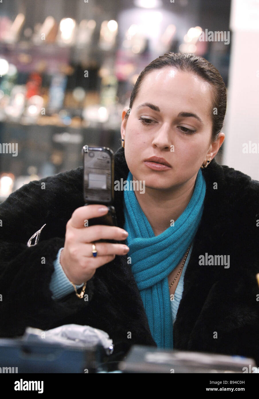 Cellular phones for sale at Euroset retail outlets - Stock Image
