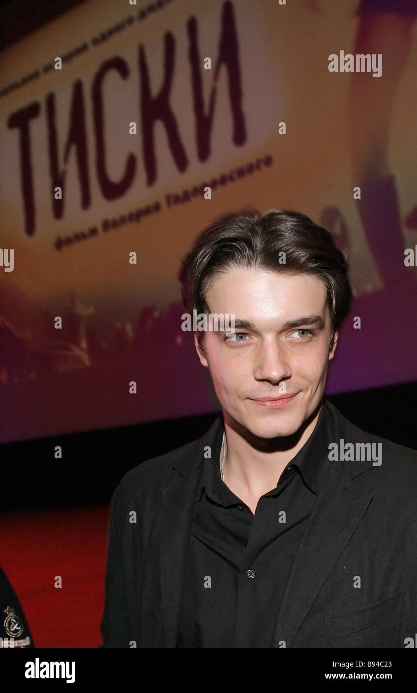 Maxim Matveev stars in the title role of Valery Todorkovsky s movie Tiski before the premiere the Oktyabr movie - Stock Image