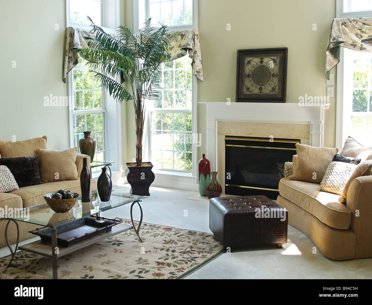 A well decorated family room in a modern american home - Stock Image