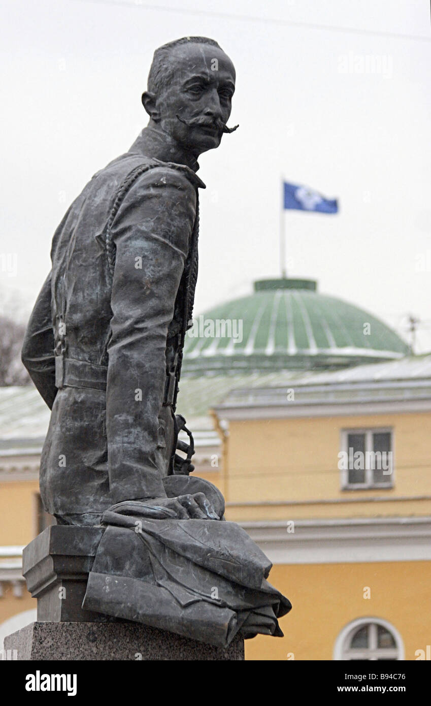 Monument to General Brusilov unveiled at the intersection of Tavricheskaya and Shpalesrnaya Streets St Petersburg - Stock Image