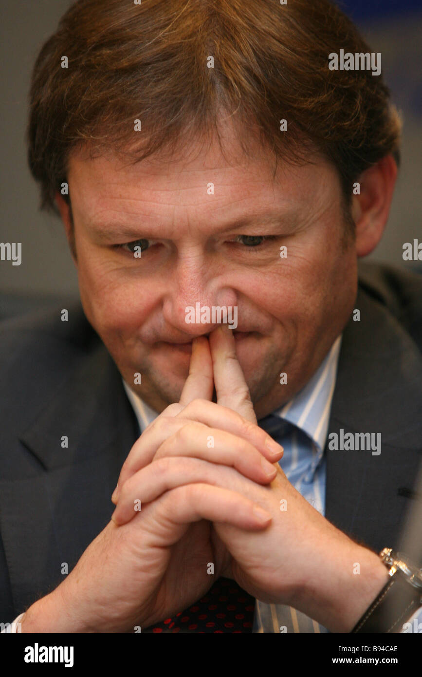B Titov chairman of the All Russian Public Organization Business Russia at the RIA Novosti roundtable Social Insurance - Stock Image