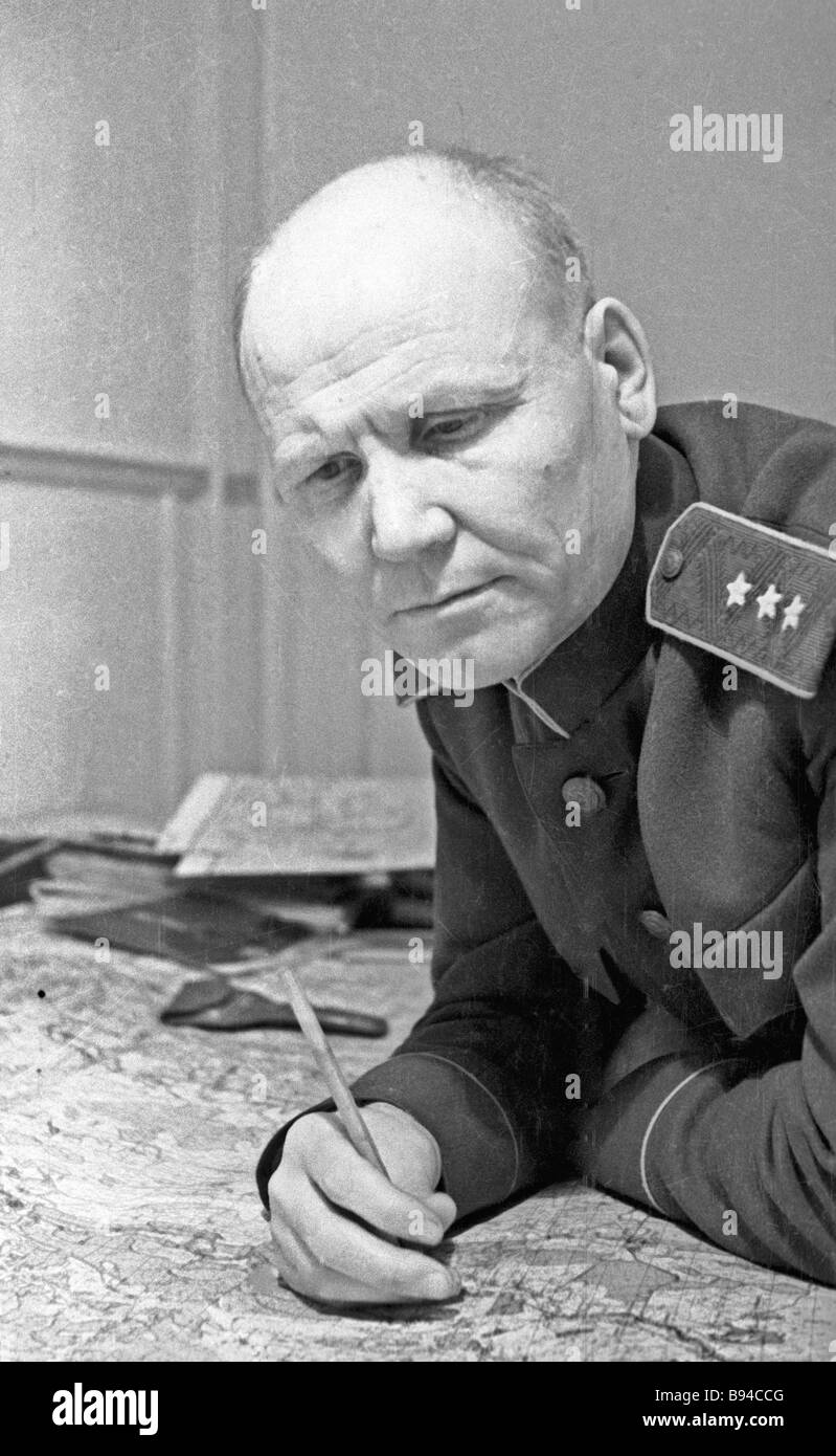 Colonel General Ivan Konev commander of the steppe front - Stock Image