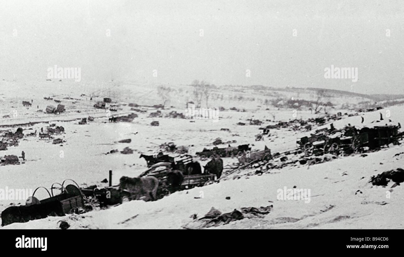 A World War Two battlefield near the village Shanderovka - Stock Image
