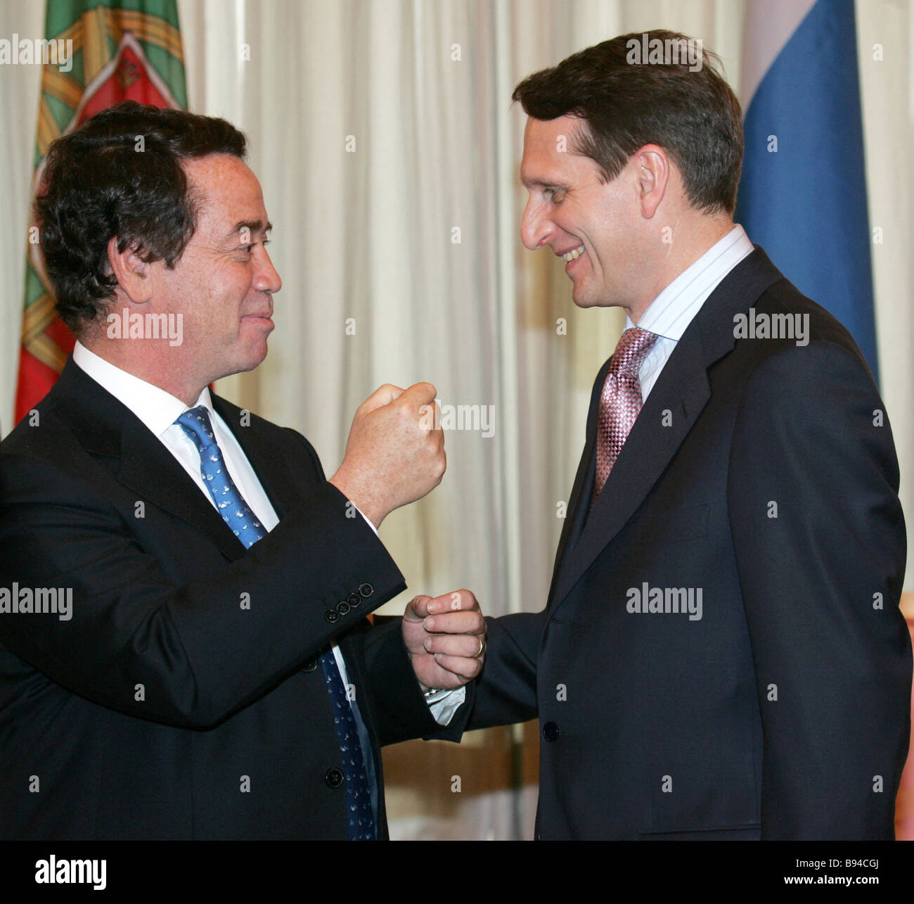 Chief of the government staff Sergei Naryshkin and Portuguese Economics and Innovations Minister Manuel Pinho right - Stock Image