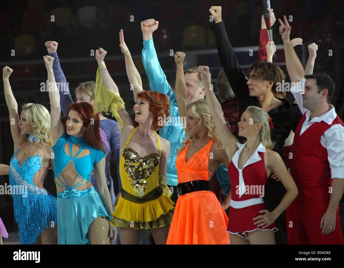 Participants in the Dancing on Ice gala concert at the Ice Palace on Khodynskoye Field Moscow greeting the audience - Stock Image