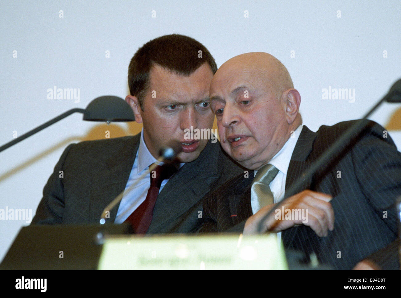 Oleg Deripaska board chairman of Basic Element company and Professor Grigory Bongard Levin left to right at the - Stock Image