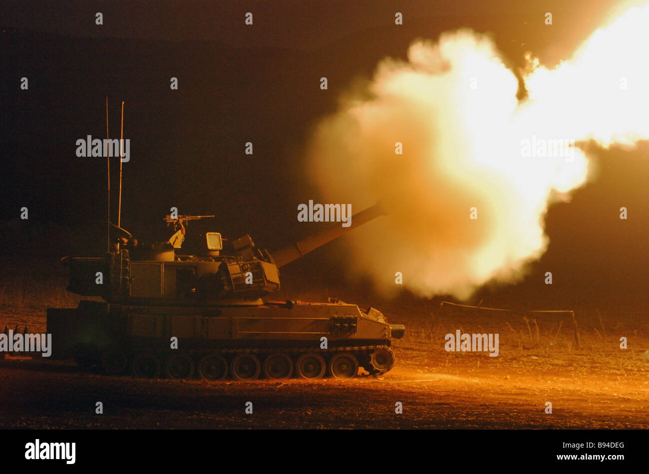 An M 109 self propelled howitzer in action - Stock Image