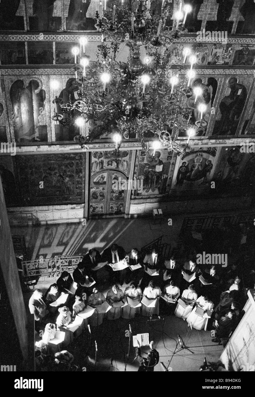 Choir of the Moscow Patriarchate singing in a church during Days of Slavic Culture and Alphabet in Novgorod - Stock Image