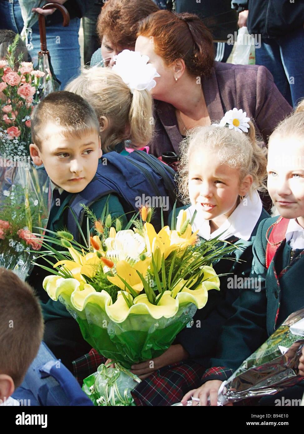 First grade students of Balashikha school No 23 celebrate Day of Knowledge on September 1 - Stock Image