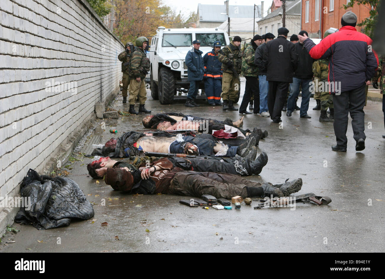 Eight insurgents were killed when special forces stormed a residential house in Makhachkala the Dagestani capital Stock Photo