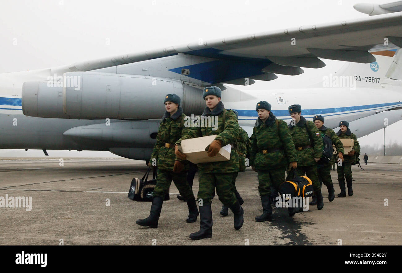 Recruits at the Chkalovsk naval air base in Kaliningrad - Stock Image