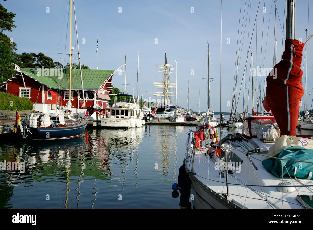 West Harbor in Maarianhamina, Aland Stock Photo