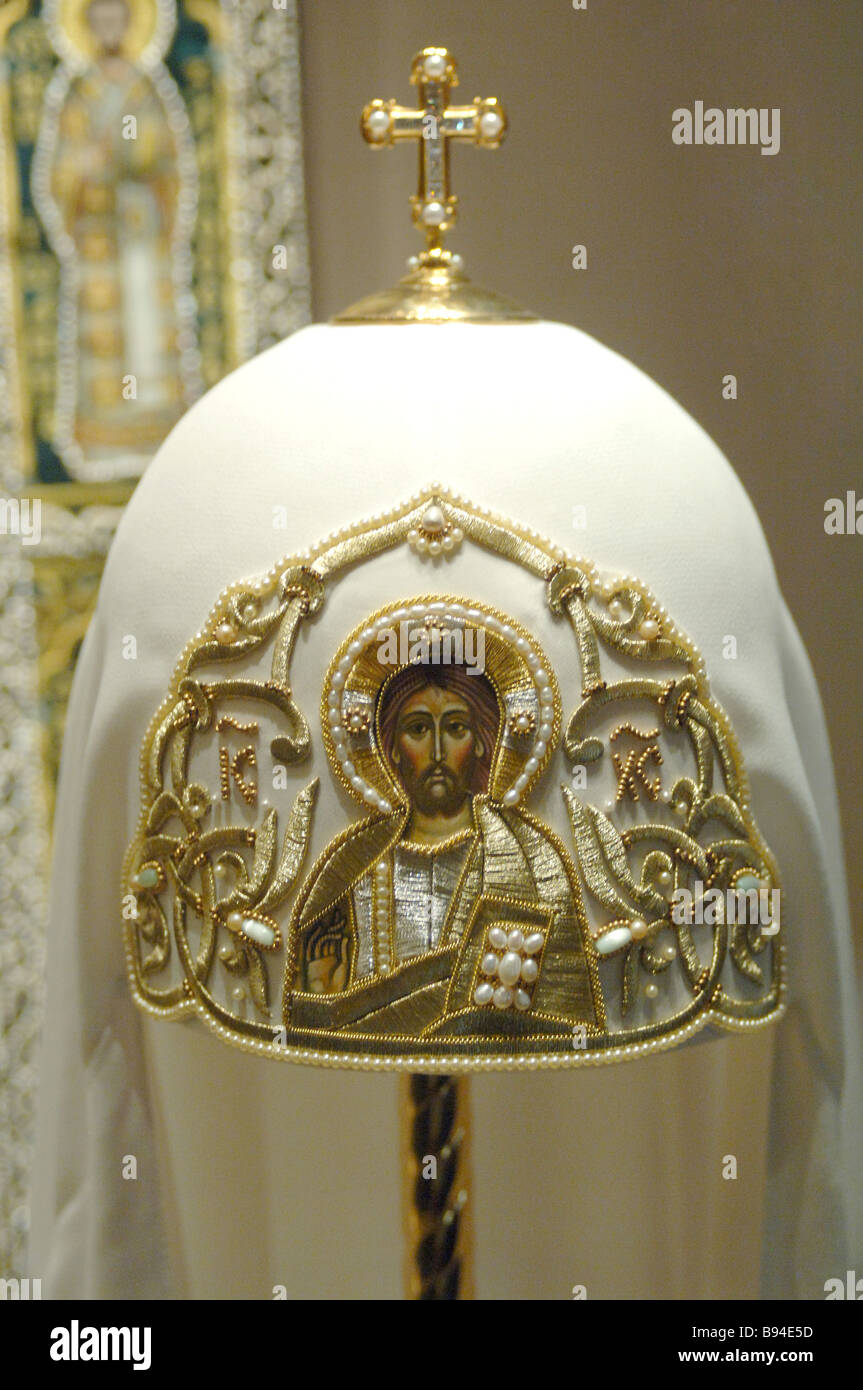 The cowl of Patriarch Alexis II Russia 1980s 1990s The Cross Chamber of the Patriarch s Palace The exhibition The - Stock Image
