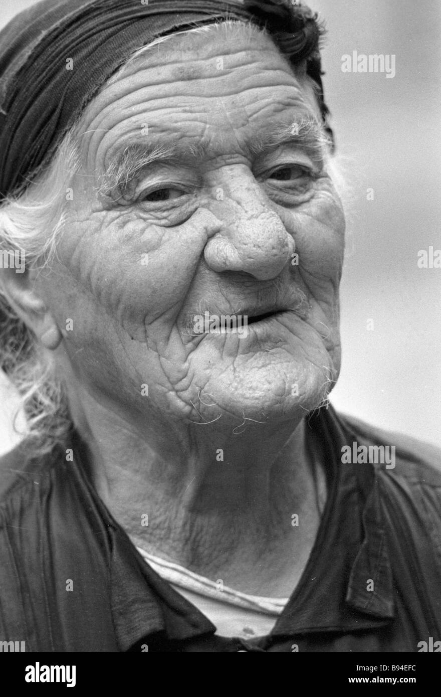 The eldest resident of the city Kafan aged 92 - Stock Image