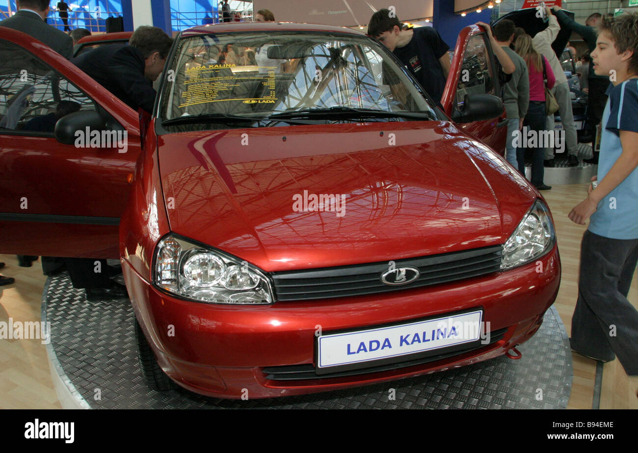This five door universal appeared at the Motorshow 2004 Moscow It represents the latest Lada Kalina family - Stock Image