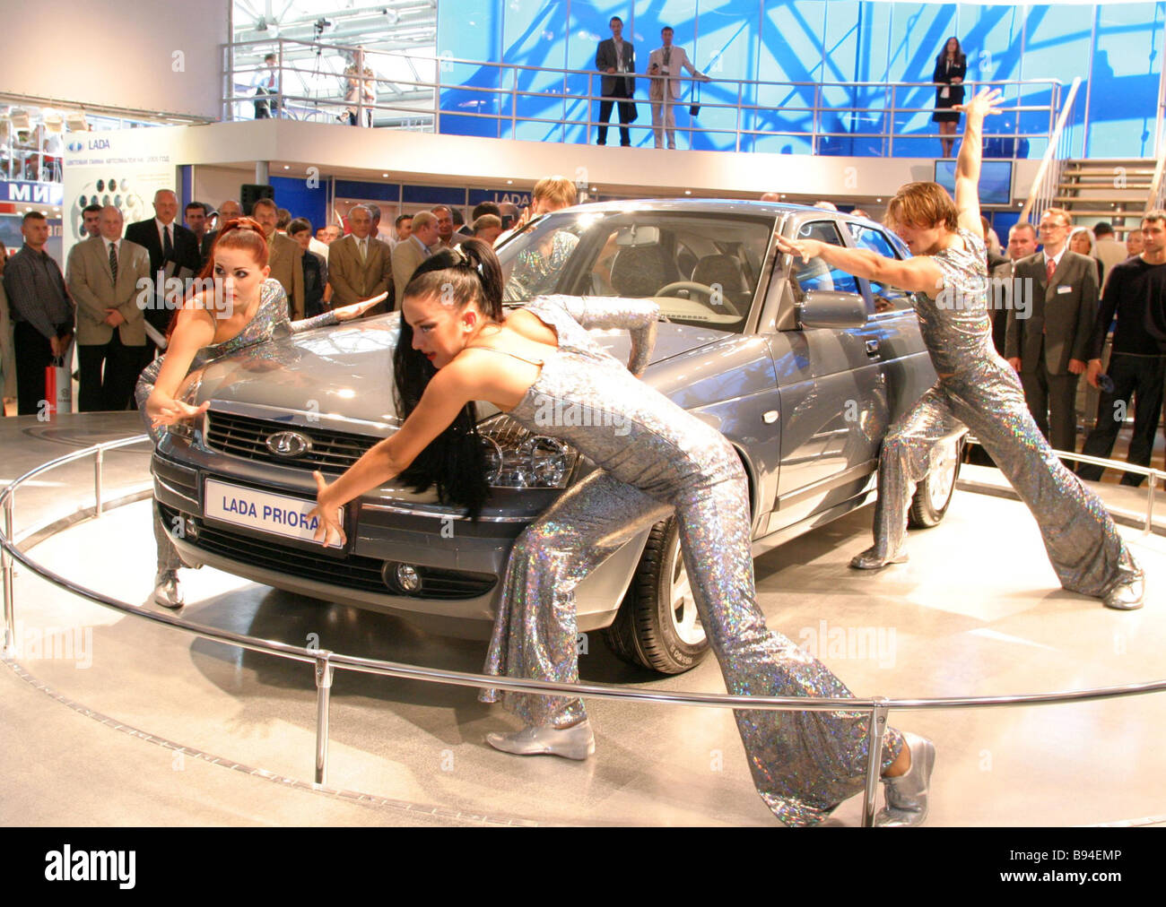 A Lada Priora car at the Motorshow 2004 Moscow - Stock Image