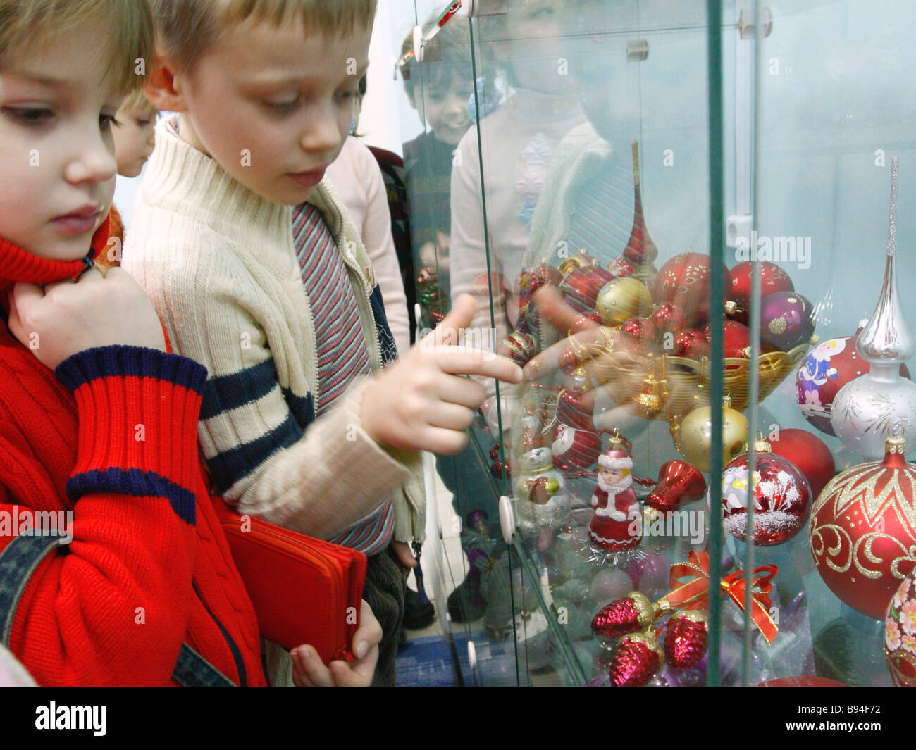 Output by Yolochka plant producing Christmas tree ornaments the town of Vysokovsk - Stock Image