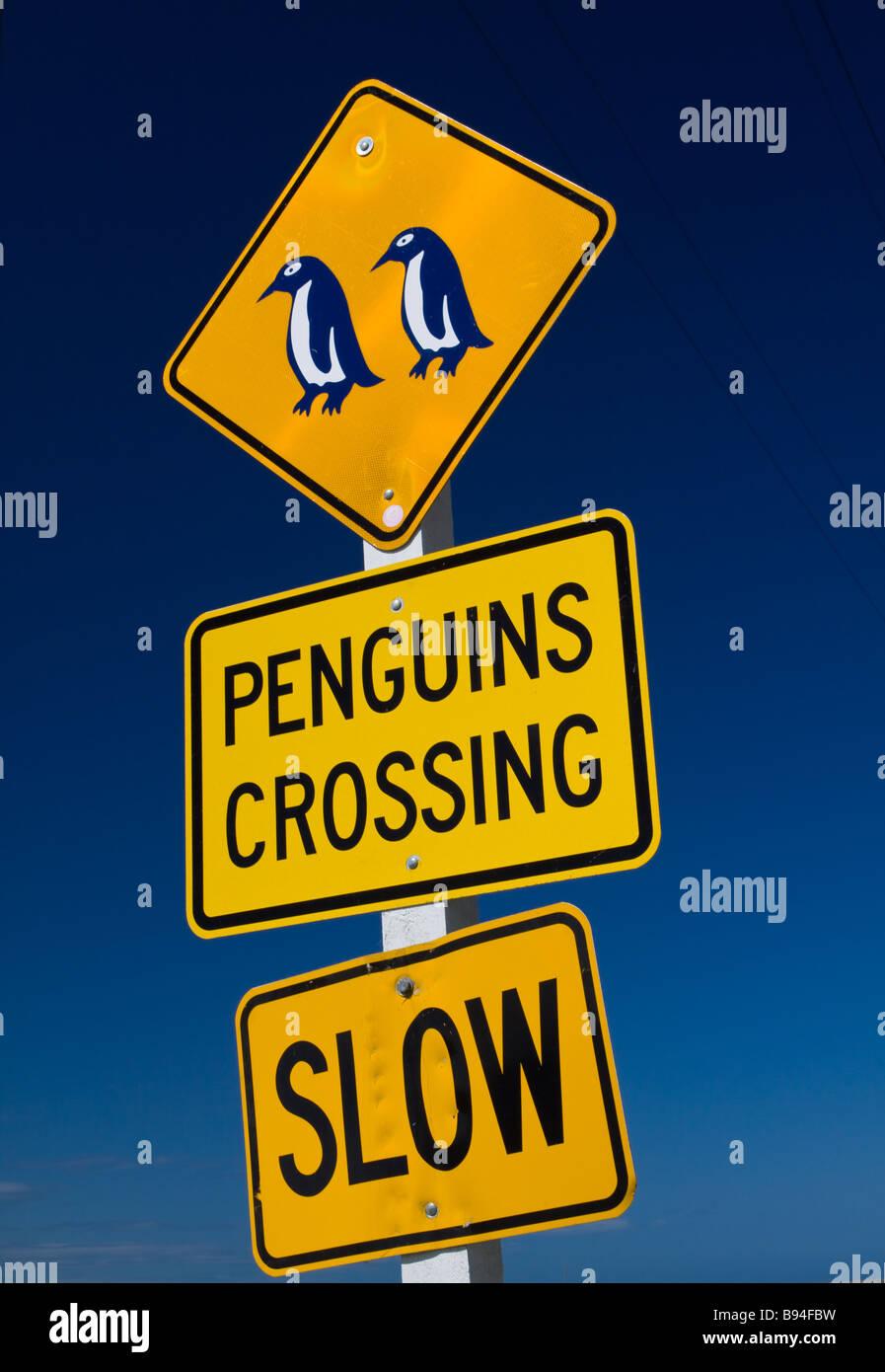 Penguins Crossing Sign Oamaru New Zealand - Stock Image